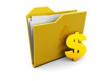 Faltblattikone mit Dollar Stockbild