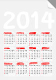 Falten Sie Eckpapierkalender 2014 Lizenzfreies Stockfoto