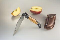 Faltendes Messer mit ledernem Reisebeutel und -bleistiftspitzer Lizenzfreie Stockbilder