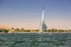 Falukas sailboat on the Nile river. Near Luxor, Egypt Royalty Free Stock Photos