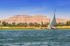 Falukas sailboat on the Nile river. Near Luxor, Egypt Stock Images