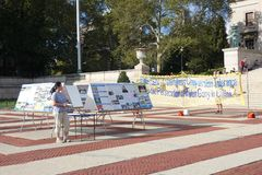 Falun Dafa. A banner and displays promoting Falun Dafa, also known as Falun Dong, at Columbia University, in New York City. Falun Dafa is a modern Chinese Stock Photo