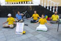 Falun Dafa Gimnasia del chino tradicional combinada imagenes de archivo