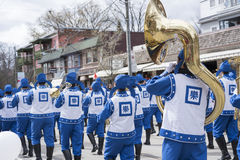 Falun Dafa marching band at the Beaches Easter Parade 2017 on Qu Royalty Free Stock Images