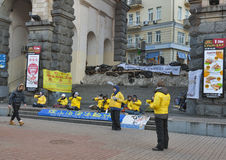 Falun Gong protest in Kiev Royalty Free Stock Images
