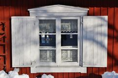 Falun red houses in Gammelstad Church Town Stock Image