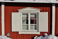 Falun red houses in Gammelstad Church Town Stock Photos
