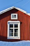 Falun red houses in Gammelstad Church Town Royalty Free Stock Photo