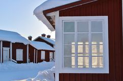 Falun red houses in Gammelstad Church Town Royalty Free Stock Images