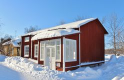 Falun red houses in Gammelstad Church Town Royalty Free Stock Photos