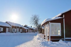 Falun red houses in Gammelstad Church Town Stock Photography