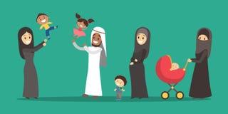Família árabe da poligamia Menina no hijab Homem com muitas esposas ilustração stock