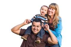 Família étnica feliz da raça misturada no branco fotos de stock royalty free