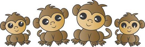 Família adorável do macaco fotos de stock royalty free