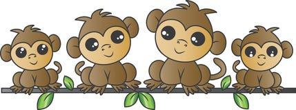 Família adorável do macaco foto de stock royalty free