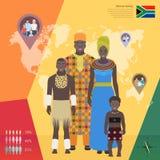 Família africana no vestido nacional, ilustração do vetor Fotos de Stock Royalty Free