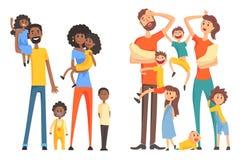 Família afro-americana e caucasiano nova Pais alegres e cansados com crianças Crianças e neonatos engraçados liso ilustração do vetor