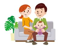 Família alegre em casa que senta-se no sofá ilustração do vetor