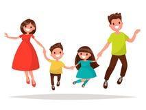 A família alegre está saltando Filha e filho da mamã do paizinho que guardam a mão Foto de Stock