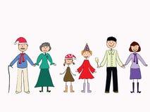 A família amigável feliz comemora o ano novo Imagem de Stock
