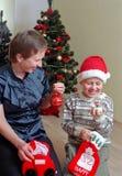 Família antes da árvore de Natal Fotos de Stock