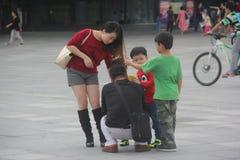 Família asiática com quatro membros imagem de stock royalty free