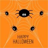 Família bonito da aranha dos desenhos animados na Web Cartão de Helloween Projeto liso Foto de Stock Royalty Free