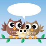 Família bonito da coruja pequena ilustração stock