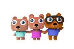 Família bonito do urso dos desenhos animados Fotografia de Stock