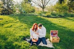 Família bonito que senta-se em um parque ensolarado fotos de stock royalty free