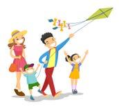 Família branca caucasiano nova que joga com um papagaio ilustração stock