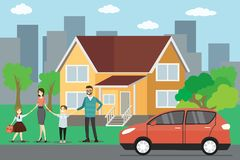 Família caucasiano dos desenhos animados, casa grande e carro vermelho ilustração do vetor