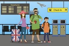 Família caucasiano feliz dos viajantes com malas de viagem e trouxas ilustração royalty free