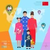 Família chinesa no vestido nacional, ilustração do vetor Imagem de Stock Royalty Free