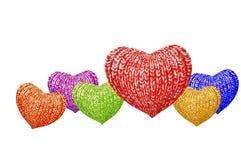 Família colorido feita malha dos corações Imagem de Stock