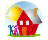 Família com arte de grampo de Sun da casa ilustração royalty free