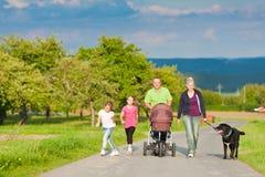 Família com as crianças e o cão que têm a caminhada imagens de stock