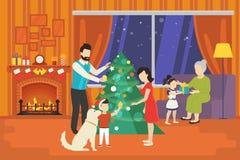 Família com as crianças que comemoram o conceito do feriado do Natal ilustração royalty free