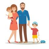 Família com crianças Família feliz Família dos caracters dos desenhos animados Família: mãe, pai, irmãos Pares e crianças da famí Imagens de Stock