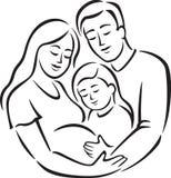 Família com menina (linha arte) Imagens de Stock