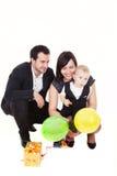 Família com presentes Fotos de Stock Royalty Free