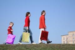 Família com sacos grandes Imagem de Stock Royalty Free