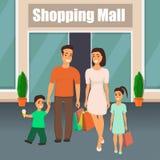Família com sair das crianças do shopping com sacos de compras à disposição A mamã, o paizinho, o filho e a filha apreciam compra ilustração stock