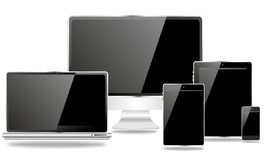 Família da edição preta dos dispositivos de comunicação