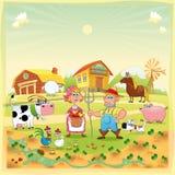 Família da exploração agrícola. Foto de Stock