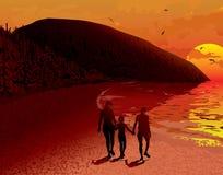Família da paisagem dos povos do nascer do sol do mar Foto de Stock