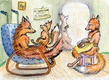 A família da raposa Imagem de Stock