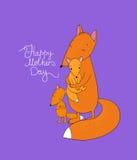 Família da raposa bonito dos desenhos animados Animais engraçados Dia feliz da mãe s Foto de Stock Royalty Free
