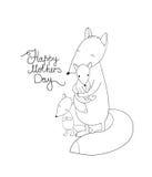 Família da raposa bonito dos desenhos animados Animais engraçados Dia feliz da mãe s Imagem de Stock