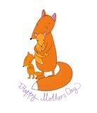 Família da raposa bonito dos desenhos animados Animais engraçados Dia feliz da mãe s Imagens de Stock